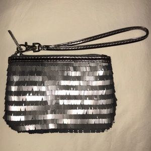 FREE GIFT! Silver Grey Long Sequin Wristlet